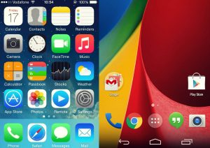 home screens of Android and IOS