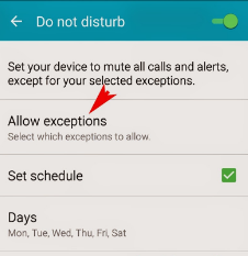 Android do not disturb feature