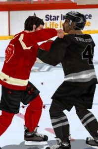 Fight in hockey game